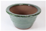 Bonsai Pot, Round (P), 11cm, Green (Dark), Glazed